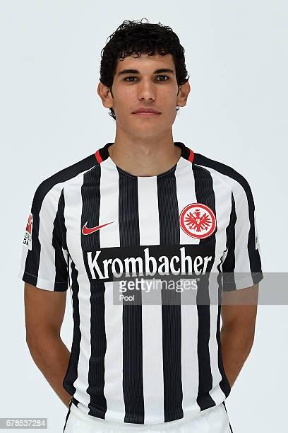 Jesus Vallejo poses during the Eintracht Frankfurt Team Presentation on July 21 2016 in Frankfurt am Main Germany