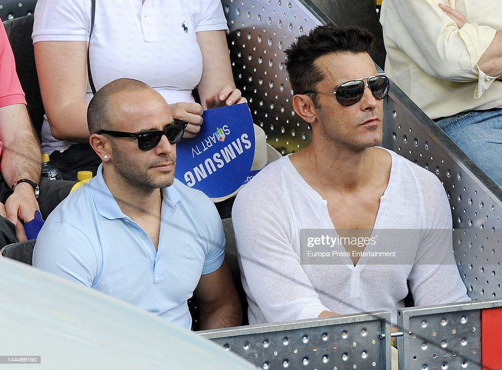 Jesus Vazquez (R) and Roberto Cortes attend Mutua Madrilena Madrid Open on May 13, 2012 in Madrid, Spain.