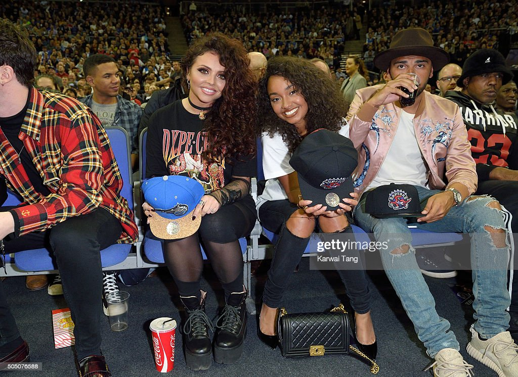 Jesy Nelson and LeighAnne Pinnock of Little Mix attend the Orlando Magic vs Toronto Raptors NBA Global Game at The O2 Arena on January 14 2016 in...