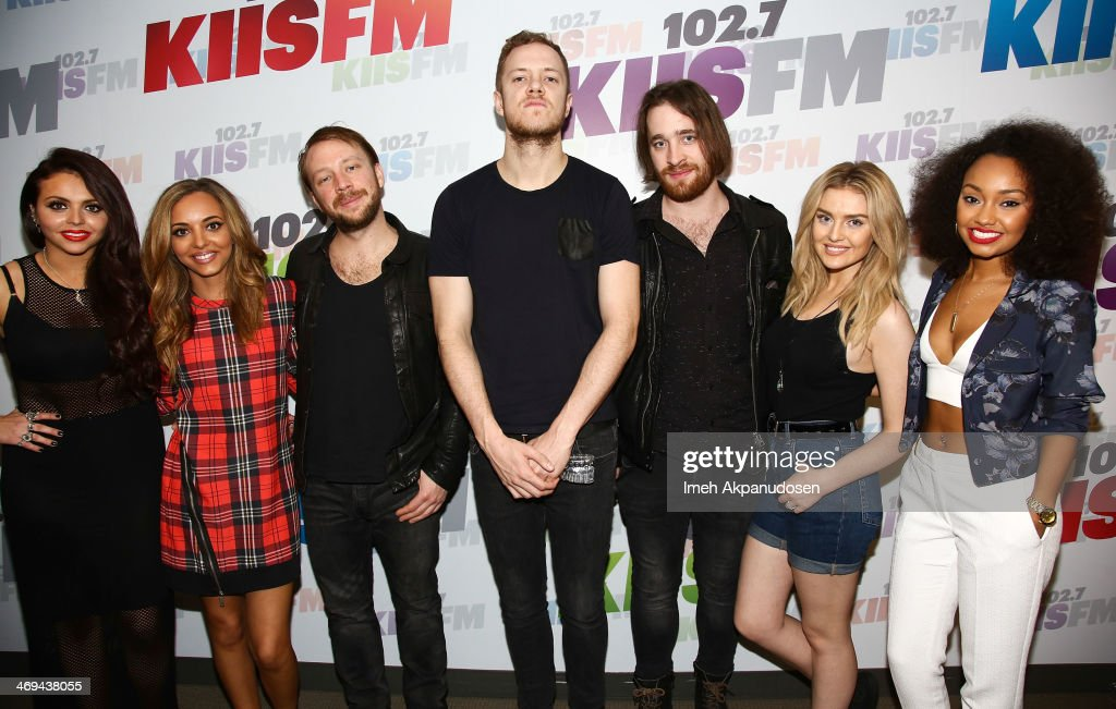Jesy Nelson Jade Thirlwall Ben McKee Dan Reynolds Daniel Platzman Perrie Edwards and LeighAnne Pinnock pose at Clear Channel Media And Entertainment...