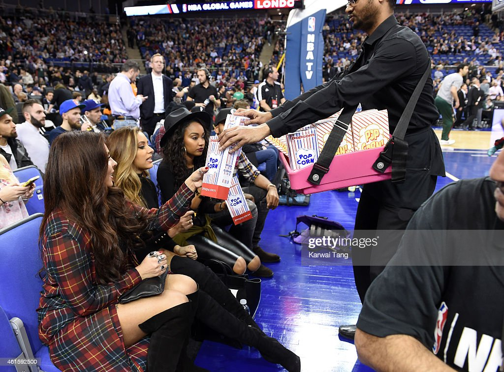 Jesy Nelson Jade Thirwall and LeighAnne Pinnock of Little Mix attend the NBA Global Games match between New York Knicks and Milwaukee Bucks at 02...