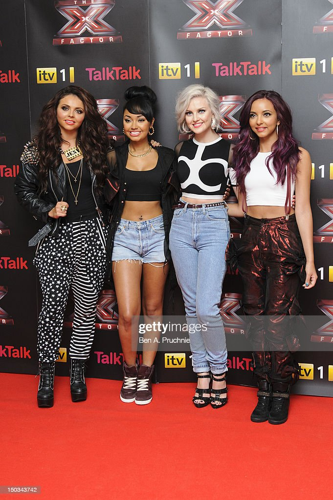 Jesy Nelson LeighAnne Pinnock Perrie Edwards and Jade Thirlwall of Little Mix arrive at the X Factor conference at Corinthia Hotel London on August...