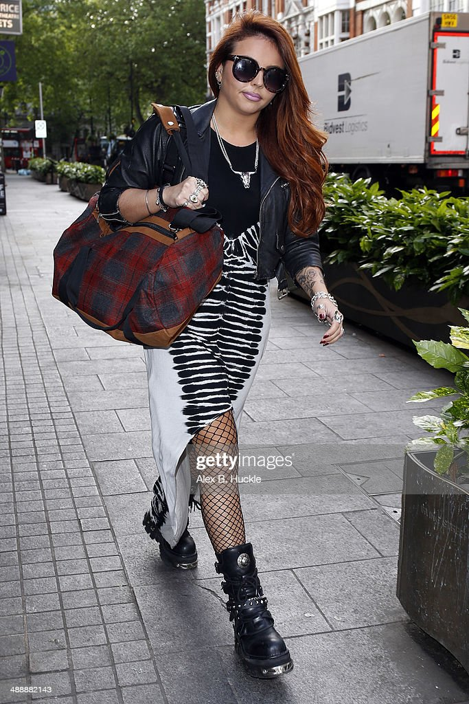 Jesy Nelson of 'Little Mix sighted arriving at Capital FM Leicester Square on May 9 2014 in London England