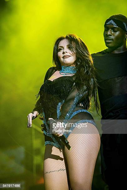 Jesy Nelson of the girl pop band Little Mix pictured on stage as she performs live at Street Music Art in Assago Milan Italy