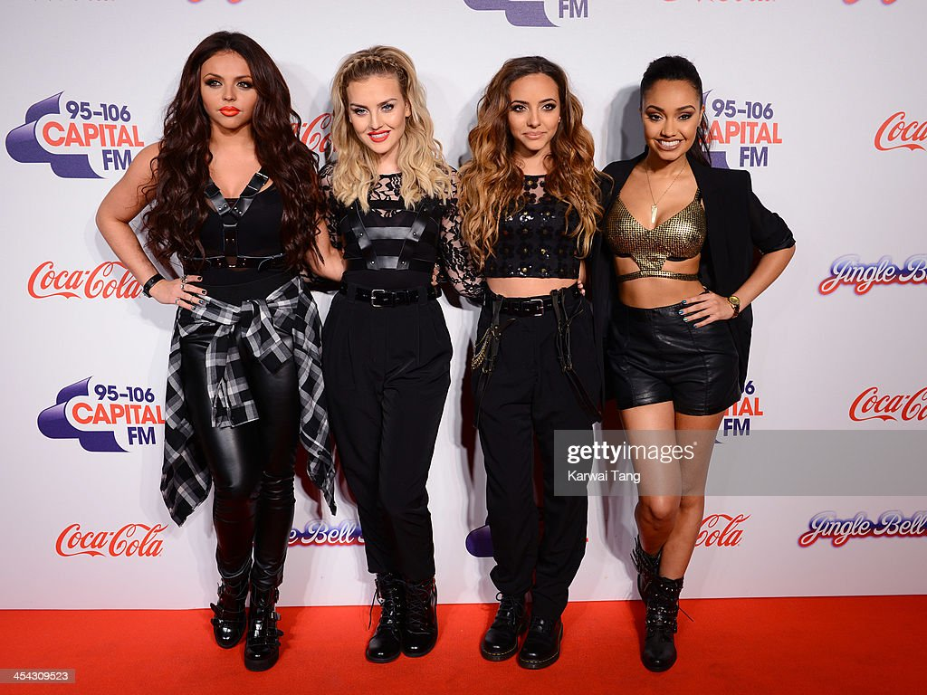 <a gi-track='captionPersonalityLinkClicked' href=/galleries/search?phrase=Jesy+Nelson+-+Little+Mix&family=editorial&specificpeople=8378192 ng-click='$event.stopPropagation()'>Jesy Nelson</a>, <a gi-track='captionPersonalityLinkClicked' href=/galleries/search?phrase=Perrie+Edwards&family=editorial&specificpeople=8378323 ng-click='$event.stopPropagation()'>Perrie Edwards</a>, Jade Thirwall and <a gi-track='captionPersonalityLinkClicked' href=/galleries/search?phrase=Leigh-Anne+Pinnock&family=editorial&specificpeople=8378207 ng-click='$event.stopPropagation()'>Leigh-Anne Pinnock</a> from girl band Little Mix attend on day 2 of the Capital FM Jingle Bell Ball at the 02 Arena on December 8, 2013 in London, England.