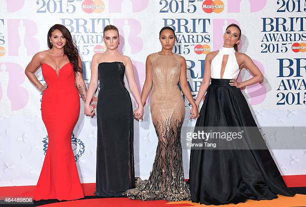 Jesy Nelson Perrie Edwards LeighAnne Pinnock and Jade Thirwall of Little Mix attend the BRIT Awards 2015 at The O2 Arena on February 25 2015 in...