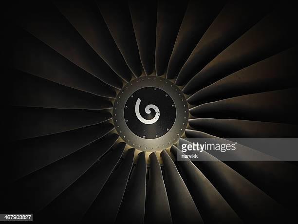 Jet airplane engine turbine