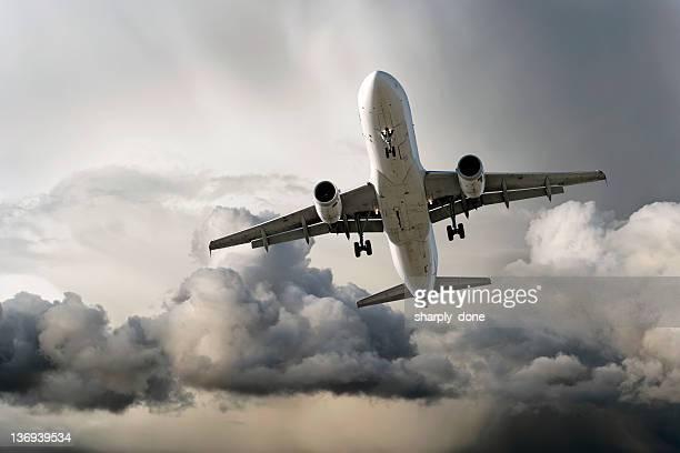 XXL jet airplane landing in storm