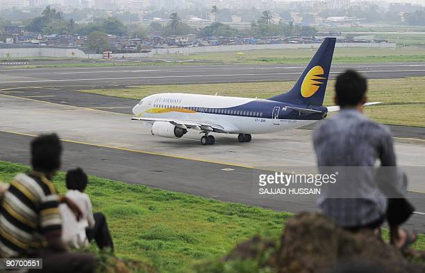 A Jet Airways aircraft prepares for take off at the city airport in Mumbai on September 13 2009 Services on India's secondlargest private airline Jet...