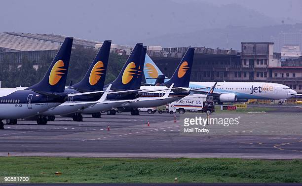 Jet Airways' aircrafts are seen on the tarmac at the domestic airport in Mumbai on Wednesday September 9 2009