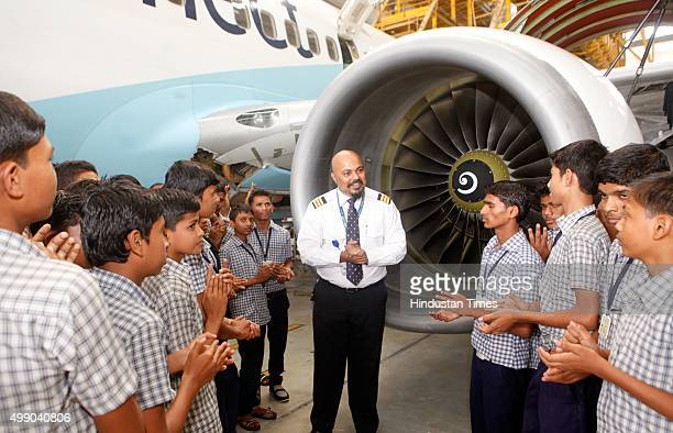 Jet Airways celebrates the Joy of Giving week with underprivileged children from an NGO wherein these children were taken on a tour at the hangar...