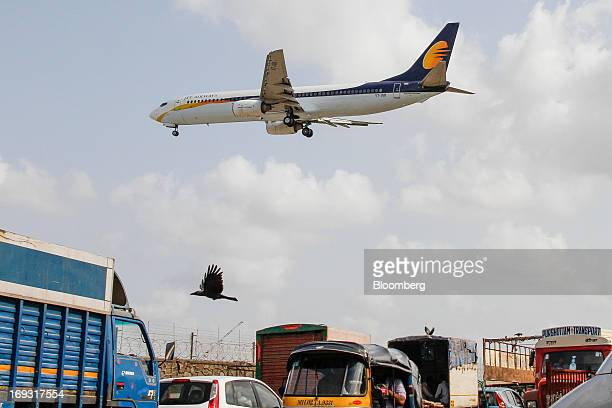 A Jet Airways Ltd aircraft prepares to land at Chhatrapati Shivaji International Airport in Mumbai India on Thursday May 23 2013 Jet Airways and...