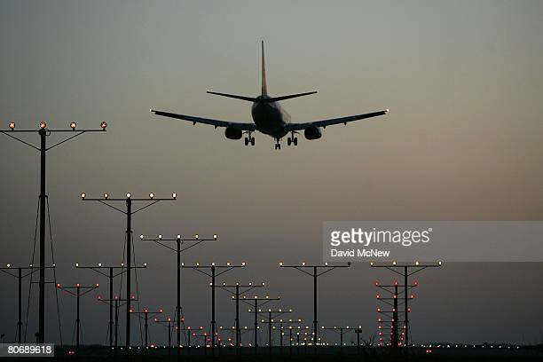 A jet comes in for landing at Los Angeles International Airport on April 15 2008 in Los Angeles California With skyrocketing fuel prices and a weak...