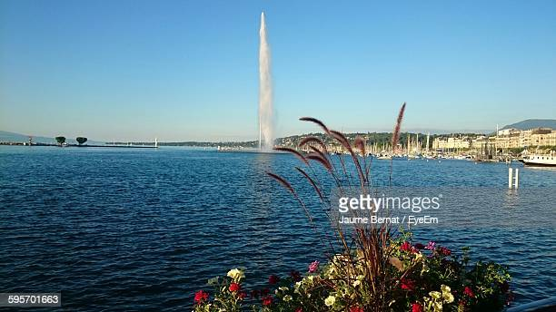 Jet D Eau In Lake Geneva Against Clear Sky