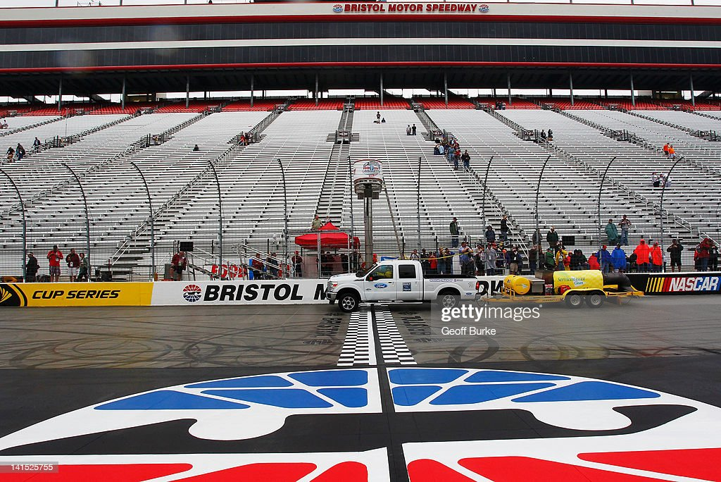 A jet dryer is used to dry the track prior to the NASCAR Sprint Cup Series Food City 500 at Bristol Motor Speedway on March 18, 2012 in Bristol, Tennessee.