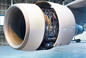 Close up of  jet engine