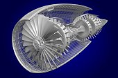 3D cross-section of a jet plane - great for topics like plane engineering, technology, machine parts etc.