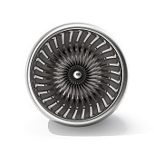 Jet engine front view isolated on white background. 3d rendering.
