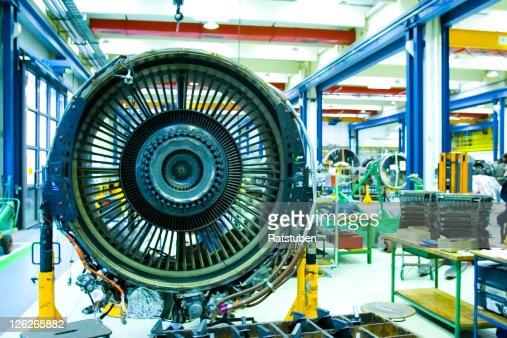 Jet Engine in Maintenance Hangar. Full overhaul of Jet Turbine