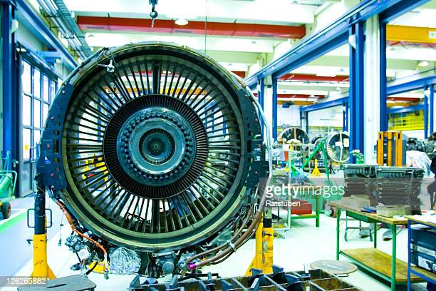 Jet Engine in Maintenance Hangar. Full overhaul of Jet Turbine