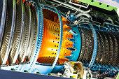 Jet engine inside. Jet turbine internal structure.