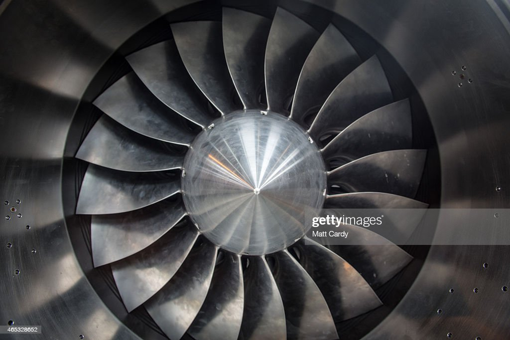 A jet engine is seen as engineers work on the carbonfibre body of the Bloodhound SSC vehicle currently taking shape at its design centre in Avonmouth...