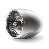 Jet engine isolated on white background. 3d rendering.