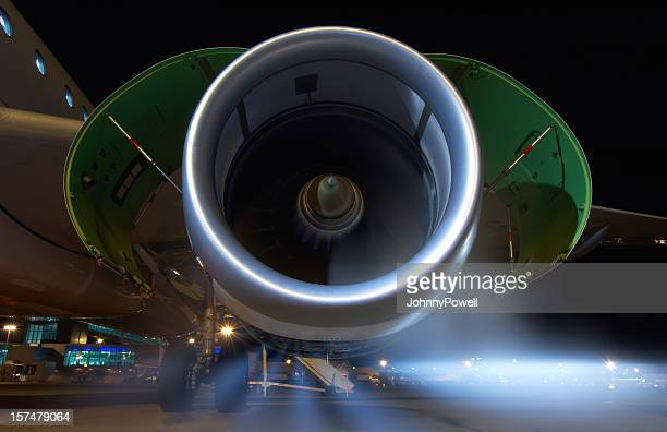 Jet engine on an Airbus A320 commercial airliner.