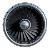 Jet engine on white background