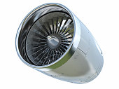 3d rendering jet engine on white background