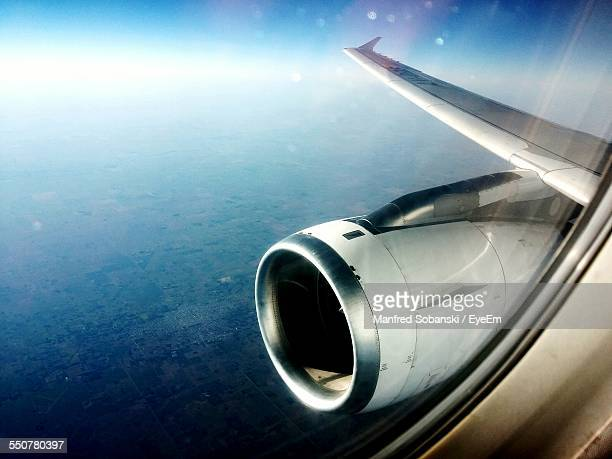 Jet Engine Seen Through Airplane Window