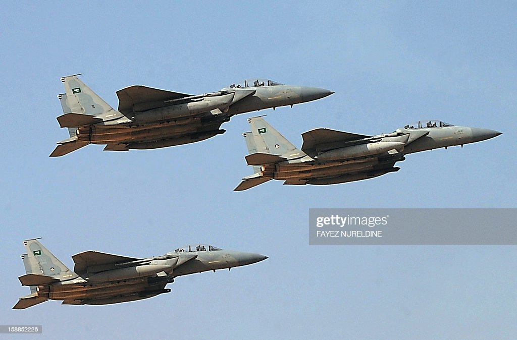 Jet fighters of the Saudi Royal air force performs during the graduation ceremony of the 83rd batch of King Faisal Air Academy (KFAA) students that was attended by Saudi Deputy Premier and Minister of Defense Crown Prince Salman bin Abdulaziz (not pictured) held at the Riyadh military airport, on January 1, 2013, in Riyadh.