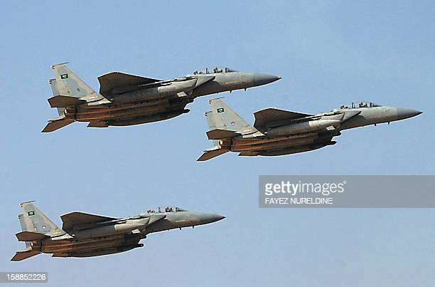 Jet fighters of the Saudi Royal air force performs during the graduation ceremony of the 83rd batch of King Faisal Air Academy students that was...