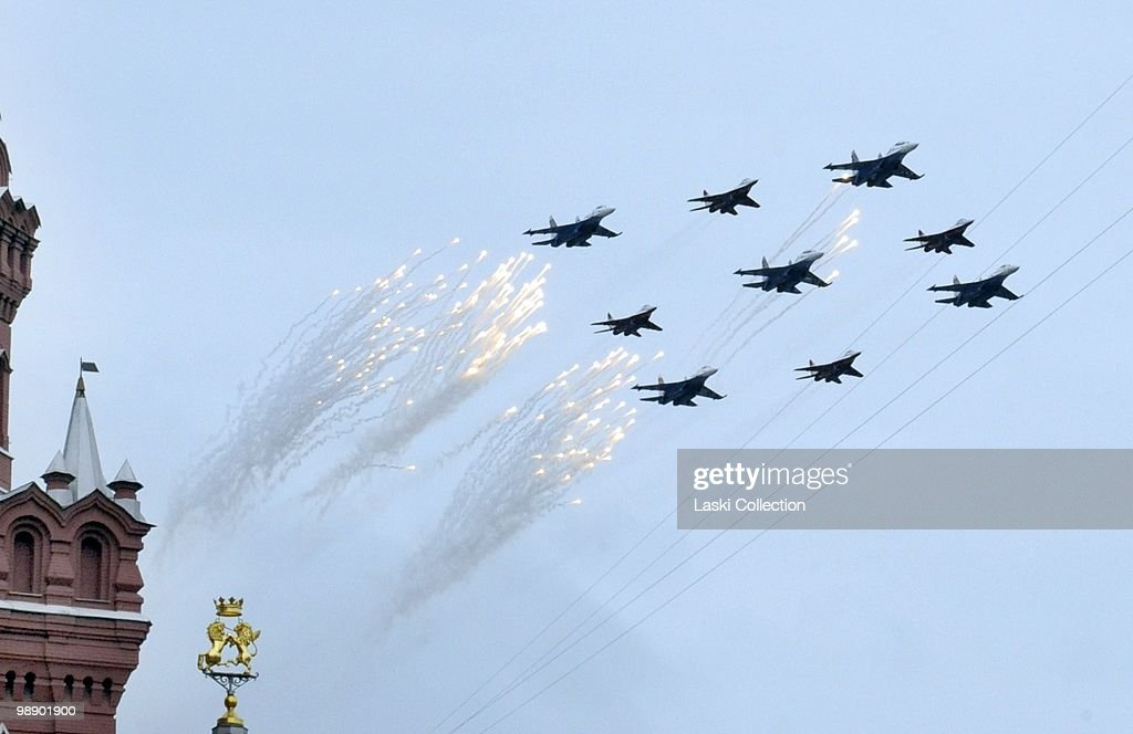 Jet fighters Su-27 from the group of Russikije Witiazi. Russian military forces train for the Victory Day parade that will take place on 9 May 2010 marking the 65th anniversary of the Second World War. on May 06, 2010