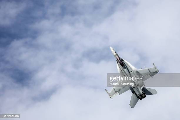 Jet fly past at the 2017 Australian Formula 1 Grand Prix on March 24 2017 in Melbourne Australia PHOTOGRAPH BY Chris Putnam / Barcroft Images 44 207...