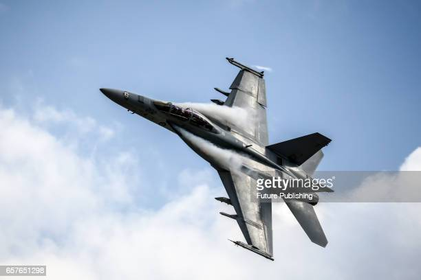 Jet fly past at the 2017 Australian Formula 1 Grand Prix on March 25 2017 in Melbourne Australia PHOTOGRAPH BY Chris Putnam / Barcroft Images 44 207...