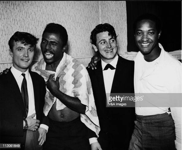 Jet Harris Little Richard Gene Vincent Sam Cooke posed backstage on Little Richard package tour 1962
