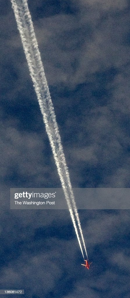 WASHINGTON, DC - DECEMBER 22; A jet leaves a long contrail in the early morning sky above Washington, DC on Dec. 22. Today is the winter solstice -- the first day of winter and the day with the shortest amount of daylight of the year.