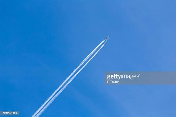 Jet plane on blue sky