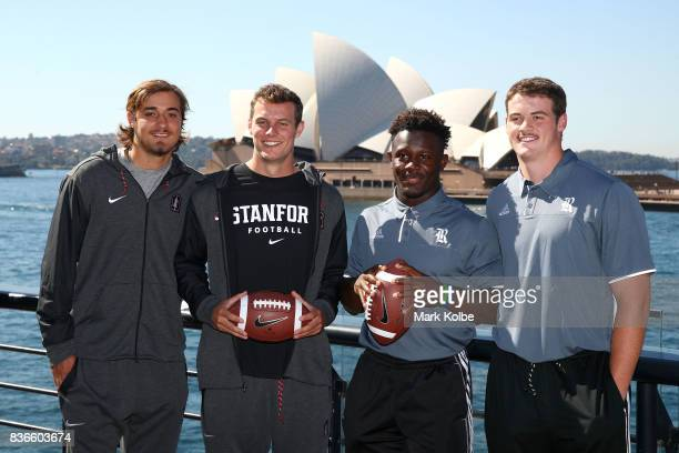 Jet Toner and Jake Bailey of the Stanford Cardinal and Nahshon Ellerbe and Jack Fox of the Rice Owls pose during the 2017 US College Football Sydney...