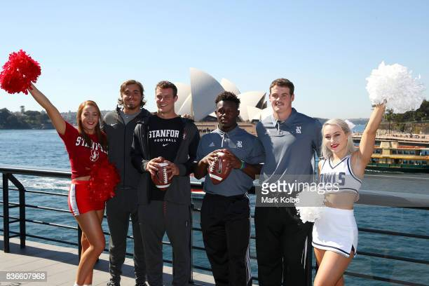 Jet Toner and Jake Bailey of the Stanford Cardinal and Nahshon Ellerbe and Jack Fox of the Rice Owls pose with cheergirls during the 2017 US College...