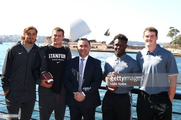 Jet Toner and Jake Bailey of the Stanford Cardinal NSW Acting Premier John Barilaro MP and Nahshon Ellerbe and Jack Fox of the Rice Owls pose during...