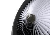 Closeup of a jet turbine. 3D Rendering