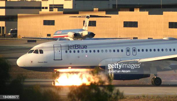 JetBlue flight 292 makes an emergency landing at LAX after the front landing gear malfunctioned after taking off from Burbank's Bob Hope Airport...