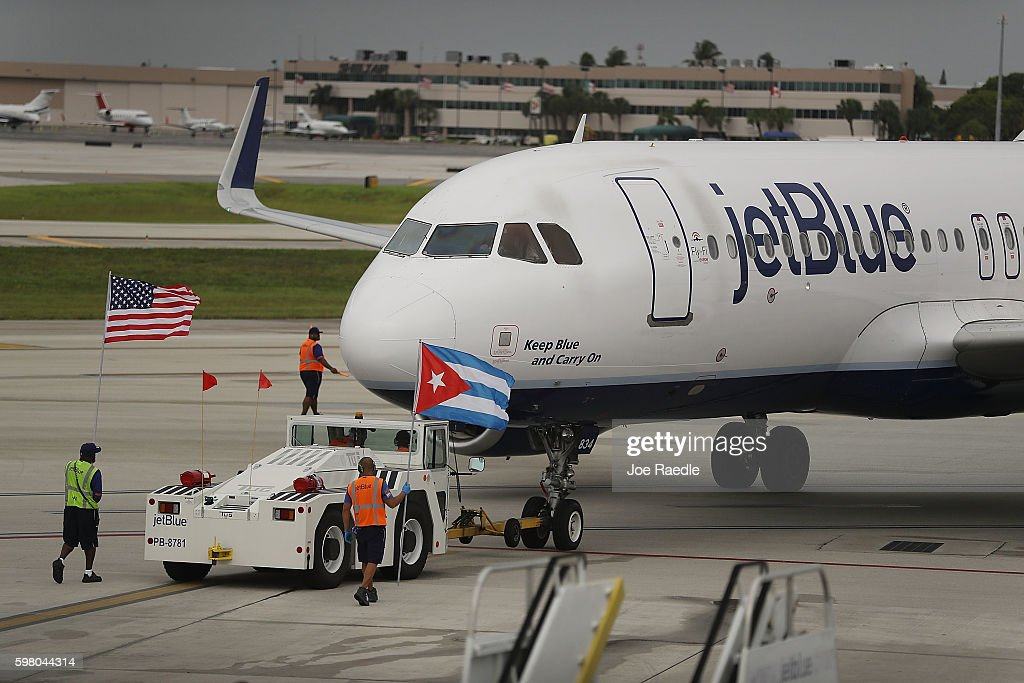 JetBlue Flight 387 pushes back from the gate as it prepares for take off to become the first scheduled commercial flight to Cuba since 1961 on August...