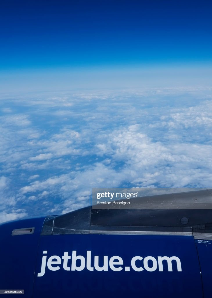 A JetBlue plane flies May 1, 2014 in flight over the United States.