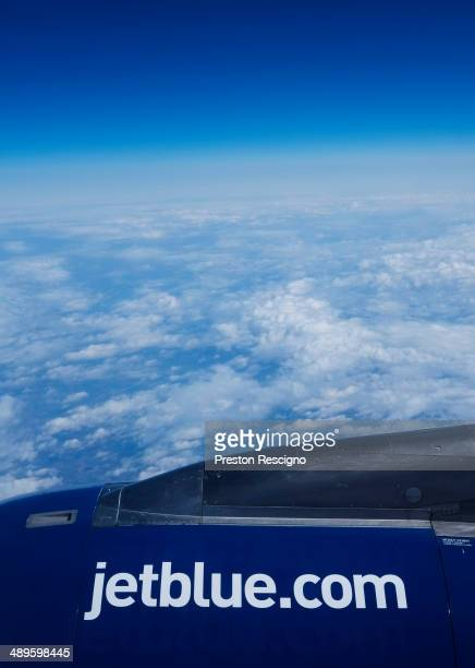 JetBlue plane flies May 1 2014 in flight over the United States