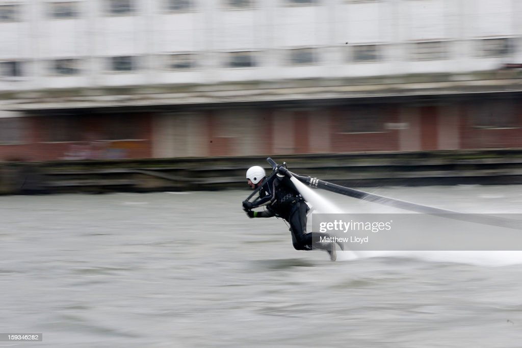 A Jetlev personal flight system is demonstrated in the marina at the 2013 London Boat Show, held at the eXcel centre, on January 12, 2013 in London, England. Until the 20th of January the London Boat Show will showcase, demonstrate and sell maritime equipment ranging from luxury yachts to dinghies.