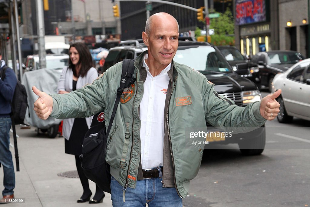 'Jetman' <a gi-track='captionPersonalityLinkClicked' href=/galleries/search?phrase=Yves+Rossy&family=editorial&specificpeople=4206854 ng-click='$event.stopPropagation()'>Yves Rossy</a> arrives at 'Late Show with David Letterman' at the Ed Sullivan Theater on May 3, 2012 in New York City.