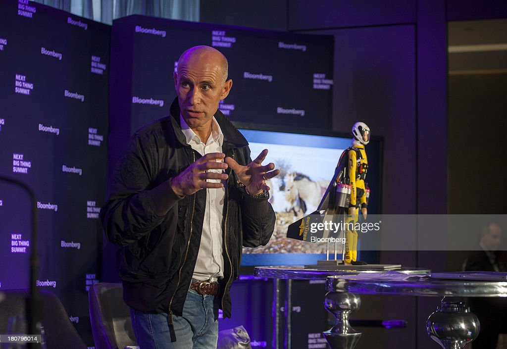 Jetman <a gi-track='captionPersonalityLinkClicked' href=/galleries/search?phrase=Yves+Rossy&family=editorial&specificpeople=4206854 ng-click='$event.stopPropagation()'>Yves Rossy</a> speaks at the Bloomberg Next Big Thing Summit in New York, U.S., on Monday, Sept. 16, 2013. The conference convenes the most influential investors and industry leaders in innovation and science to explore the great frontiers of how technology is changing the way we live, work, and interact. Photographer: Michael Nagle/Bloomberg via Getty Images